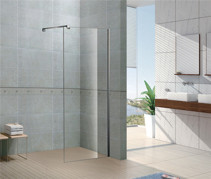 Clear / Forsted Tempered Glass Shower Doors 6 / 8 MM  CE Certification Stainless Steel Support Bar