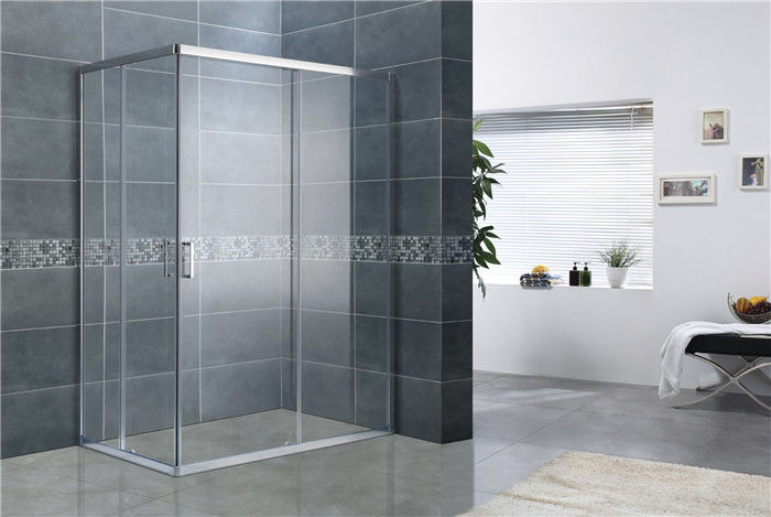 Bright Silver Rectangular Shower Enclosure 6MM Tempered Glass EN12150 For Home / Hotel