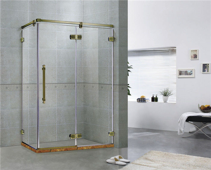 Green Bronze Square Frameless Hinged Shower Door With One Hinged Door Easy Installation
