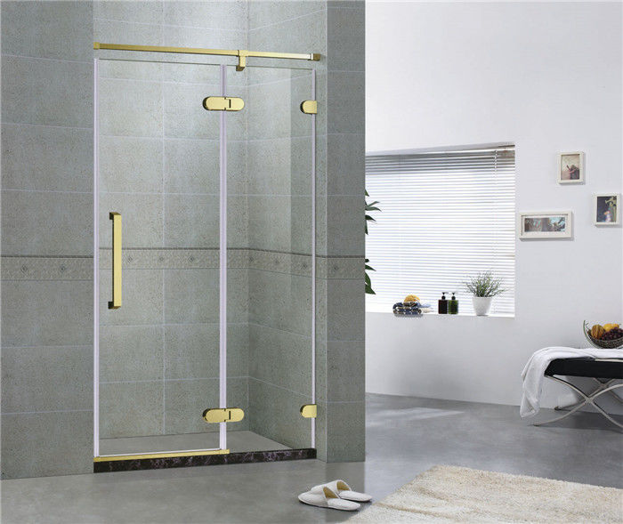 Golden Bronze Inline Frameless Corner Shower Doors 10mm Tempered Glass CE / CCC