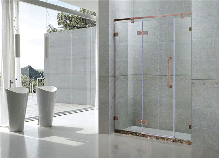 Red Bronze Inline Frameless Glass Shower Doors 8MM Tempered Glass For Apartment