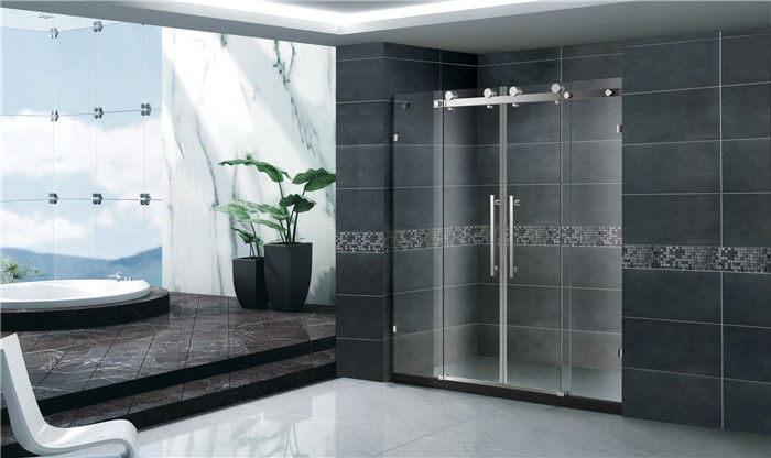 Economic Double Sliding Glass Shower Doors Frameless With Stainless Steel Accessories