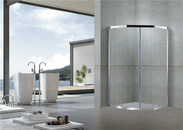 Chromed Stainless Steel Diamond Shower Doors Double Sliding 8 MM Clear / Forsted Glass