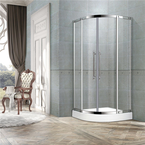 Black Titanium Offset Shower Enclosure / Steam Shower Enclosure With Two Center Pillar