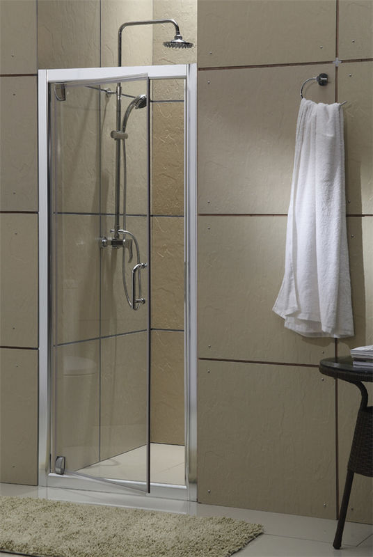 Aluminum Alloy Pivot Glass Shower Door Bright Silver Profiles With Stainless Steel Accessories