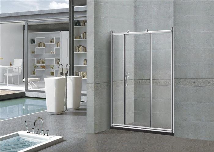 Clear / Printed Sliding Glass Shower Doors 6MM With Big Copper Wheels for Home / Hotel
