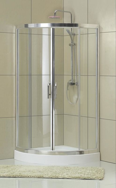 Clear Tempered Glass D Shaped Shower Cubicle 1900MM Height Bright Silver For Baths