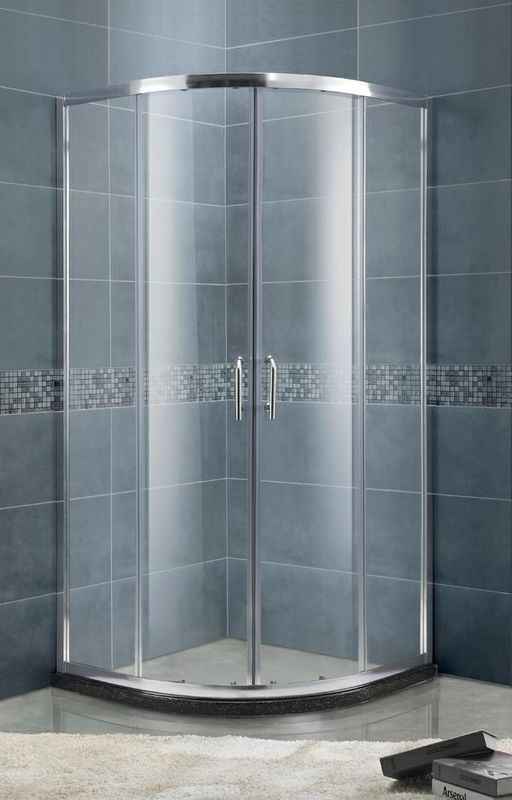 Curved Silver Aluminum  Profiles Shower Screens Double Sliding panels for Home / Hotel