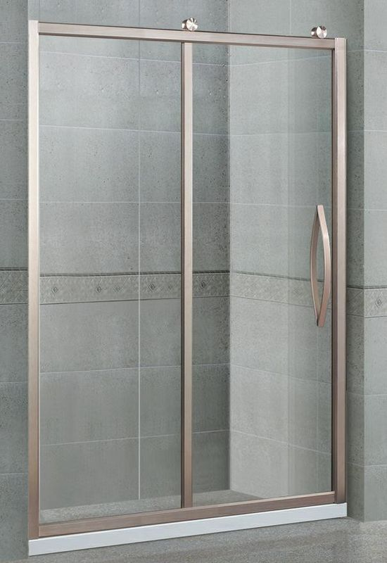 Matte Sliver Straight Sliding Glass Shower Doors With Octagonal Wheels CE Certification